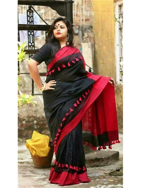 wholesale outlet well known big discount of 2019 Linen Saree with Running Blouse Piece